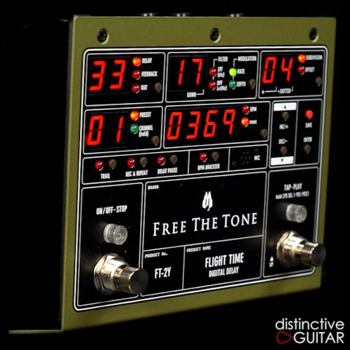 Free The Tone FT-2Y Flight Time Digital Delay Green, Brand New