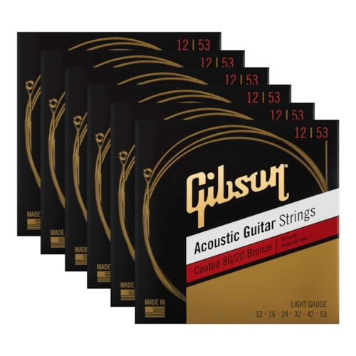 Gibson Coated 80/20 Bronze Acoustic Guitar Strings Light 6 Pack Bundle