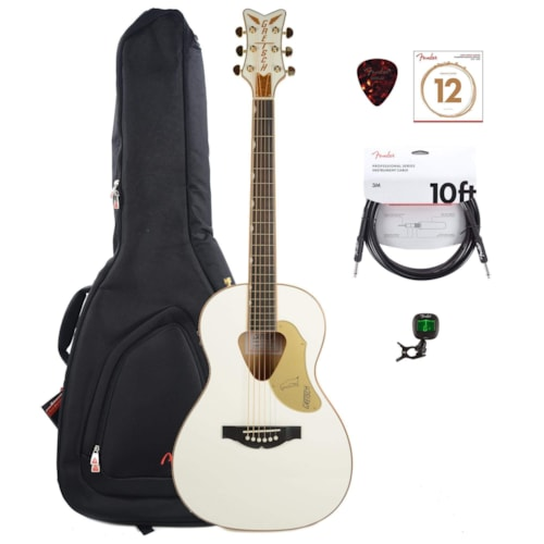 Gretsch G5021WPE Penguin Parlor Acoustic Electric Jumbo Non-Cutaway White w/Fishman Pickup System w/Gig Bag, Tuner, (1) Cable, Picks and Strings Bundle
