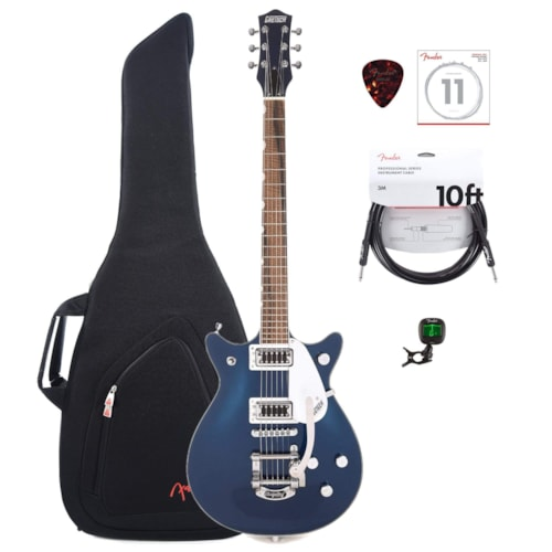 Gretsch G5232T Electromatic Double Jet FT Midnight Sapphire w/Bigsby w/Gig Bag, Tuner, (1) Cable, Picks and Strings Bundle