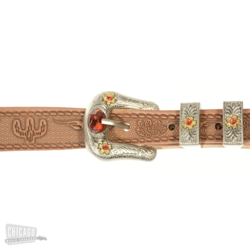 Gretsch G6332 Tooled Leather Jeweled Buckle Guitar Strap Russet