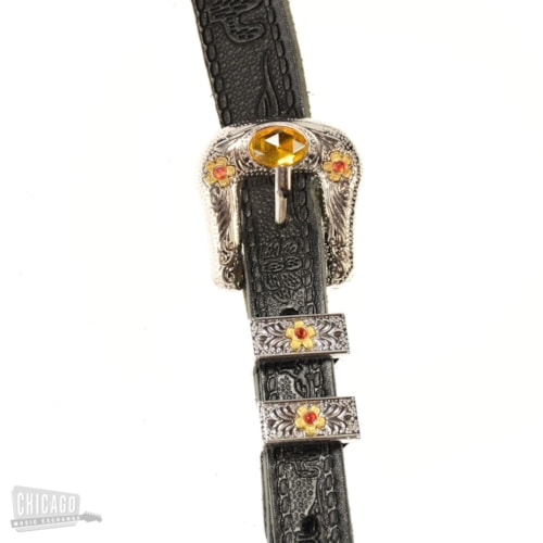 Gretsch G6332 Tooled Leather Jeweled Buckle Guitar Strap Black