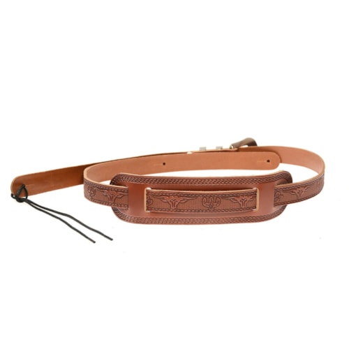 Gretsch G6332 Tooled Leather Jeweled Buckle Guitar Strap Walnut