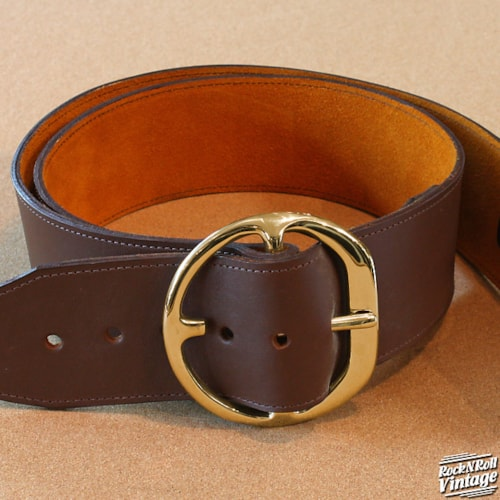Heavy Leather For Those About to Rock Brown Leather w/ Gold Buckle