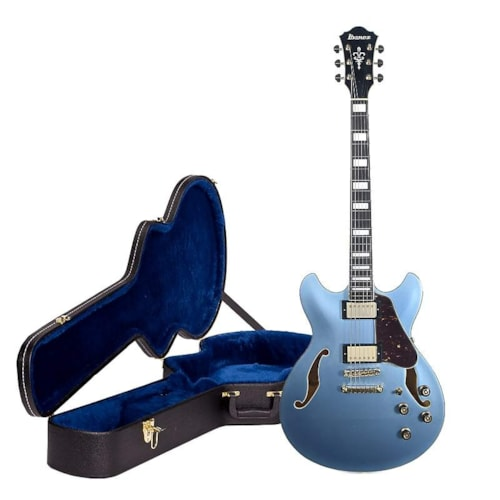 Ibanez AS83STE Artcore Expressionist Semi-Hollow Body Steel Blue and AS100C Case Bundle