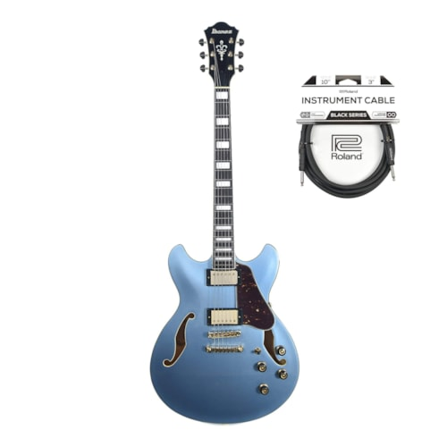 Ibanez AS83STE Artcore Expressionist Semi-Hollow Body Steel Blue Cable Bundle