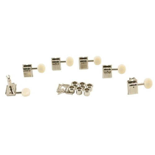 Kluson 6-In-Line Tuners Oval Plastic Button Double Line Nickel