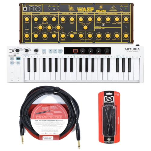 Behringer Wasp Deluxe Legendary Analog Synthesizer and Arturia KeyStep 37 USB Midi Controller Essentials Bundle