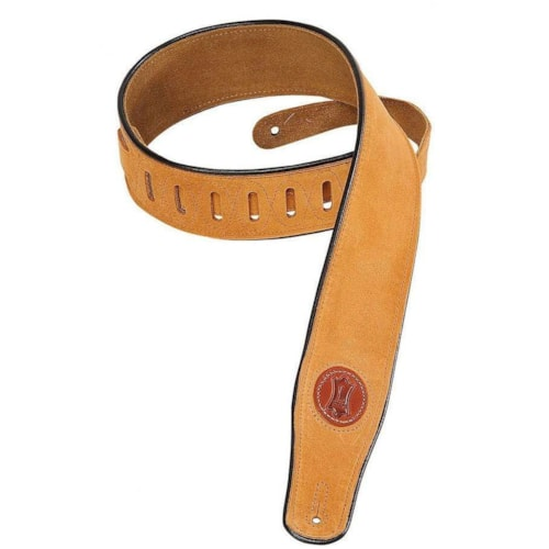 Levy's 2.5 Inch Signature Series Suede Guitar Strap w/Decorative Piping - Honey
