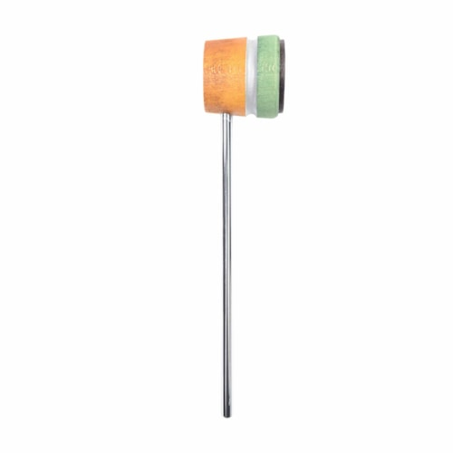 Low Boy Lightweight Leather Bass Drum Beater Amber/Green w/Silver Sparkle Stripe