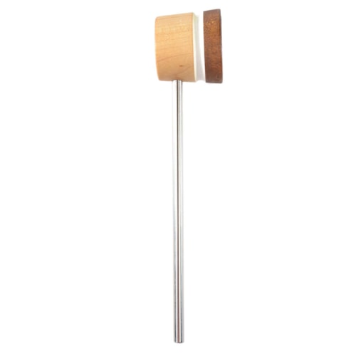 Low Boy Lightweight Leather Bass Drum Beater Natural/Light Brown w/White Stripes