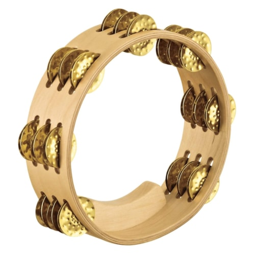 """Meinl Artisan Compact 8"""" Wood Tambourine Hammered Brass Jingles 3 Rows Maple"""