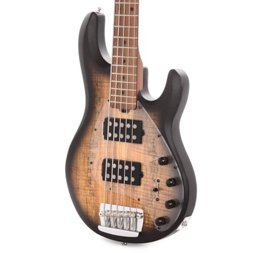 Sterling by Music Man StingRay5 HH Spalted Maple Top Natural Burst Satin