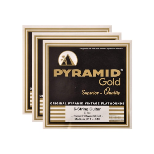 Pyramid Gold Electric Flatwound Med 11-48 (3 Pack Bundle)