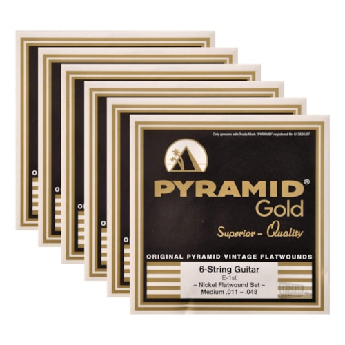 Pyramid Gold Electric Flatwound Med 11-48 (6 Pack Bundle)