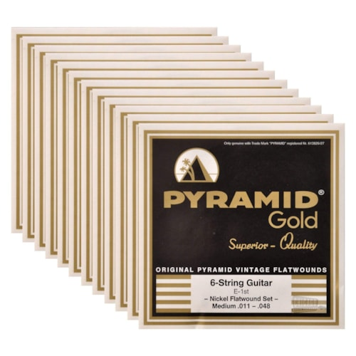 Pyramid Gold Electric Flatwound Med 11-48 (12 Pack Bundle)