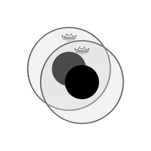 """Remo 13"""" Controlled Sound Clear Drumhead w/Top Black Dot (2 Pack Bundle)"""