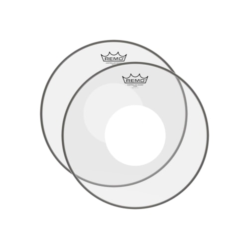 """Remo 14"""" Controlled Sound Clear Drumhead w/Top White Dot (2 Pack Bundle)"""