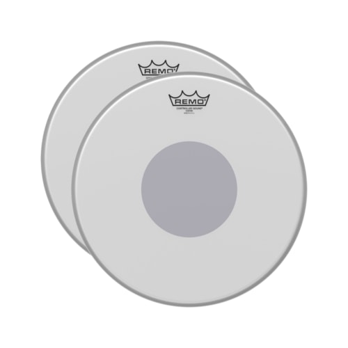 """Remo 16"""" Controlled Sound Coated Drumhead w/Bottom Black Dot (2 Pack Bundle)"""