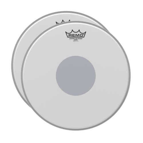 """Remo 18"""" Controlled Sound X Coated Black Dot Bass Drumhead Bottom Black Dot (2 Pack Bundle)"""