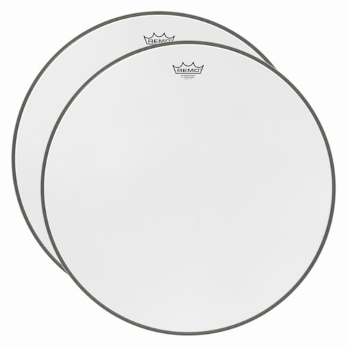 """Remo 22"""" Powerstroke 3 P3 White Suede Bass Drumhead 2 Pack Bundle"""