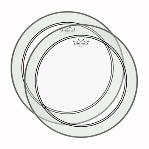 """Remo Powerstroke 3 Clear 18"""" Bass Drum Head w/2-1/2"""" Impact Patch (2 Pack Bundle)"""