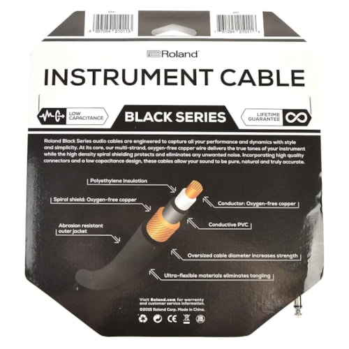 """Roland Black Series 10ft A/S 1/4"""" Instrument Cable"""