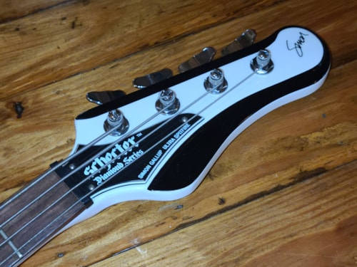 2012 Schecter  Simon Gallup Signature Model Bass White