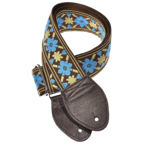 Souldier Guitar Strap - Turquoise Tulip on Brown (Brown Ends)