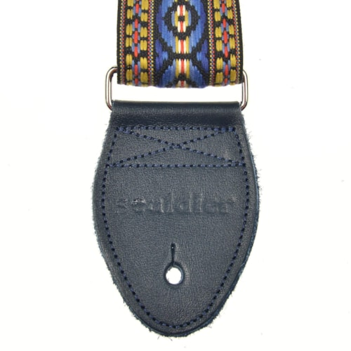 """Souldier Bohemian Blue/Yellow/Red on Black 2"""" Strap (Navy Belt & Navy Ends)"""