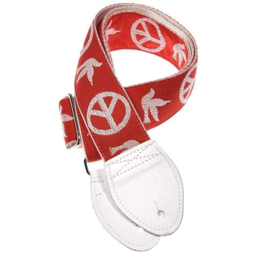 Souldier Guitar Strap - Neil Young Peace Dove Red (White Belt & Ends)