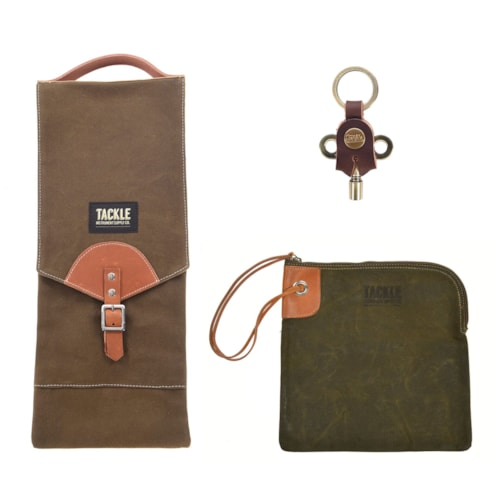 Tackle Compact Stick Bag, Zippered Accessory Bag Forest Green and Timekeepers Brass Drum Key Bundle