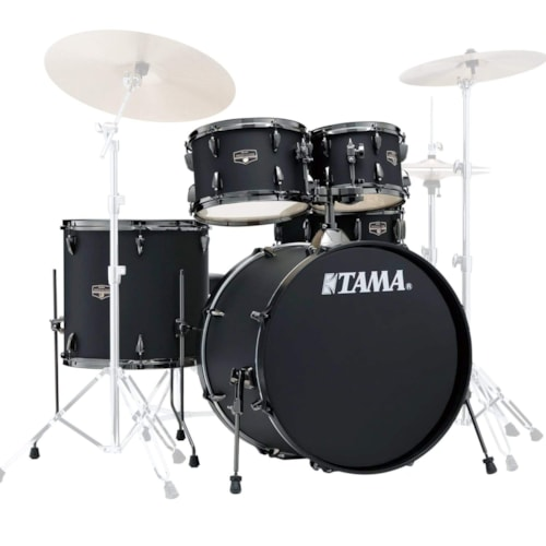 Tama Imperialstar 10/12/16/22/5x14 5pc. Drum Kit Blacked Out Black w/Hardware & Cymbals