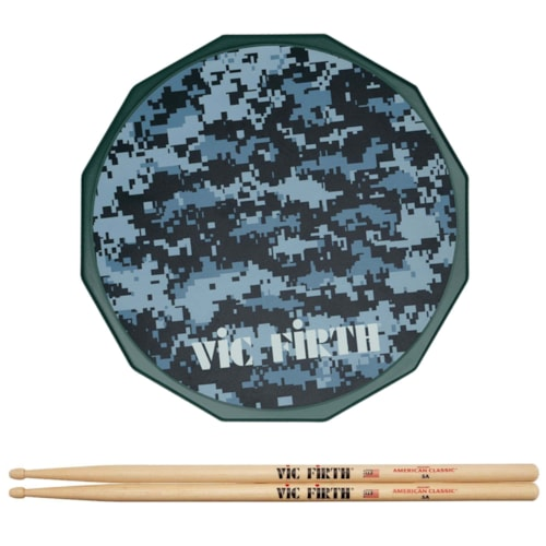 """Vic Firth 12"""" Digital Camo Practice Pad and American Classic 5A Wood Tip Drum Sticks Bundle"""