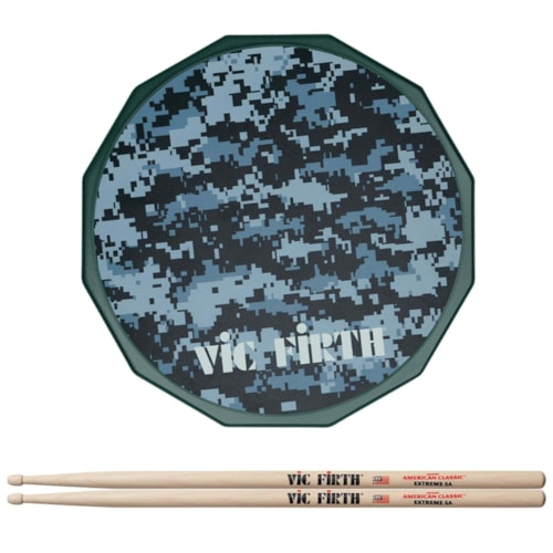 """Vic Firth 12"""" Digital Camo Practice Pad and American Classic Extreme 5A Wood Tip Drum Sticks Bundle"""