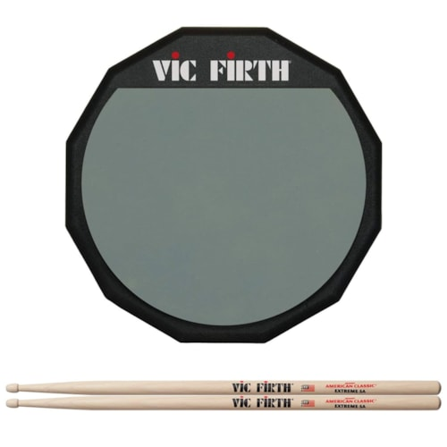 """Vic Firth 12"""" Practice Pad Single Sided and American Classic Extreme 5A Wood Tip Drum Sticks Bundle"""