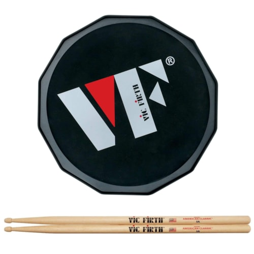 """Vic Firth 12"""" VF Logo Practice Pad and American Classic 5A Wood Tip Drum Sticks Bundle"""
