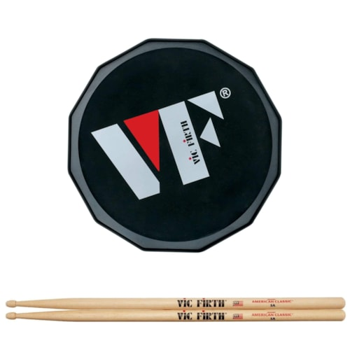 """Vic Firth 6"""" VF Logo Practice Pad and American Classic 5A Wood Tip Drum Sticks Bundle"""