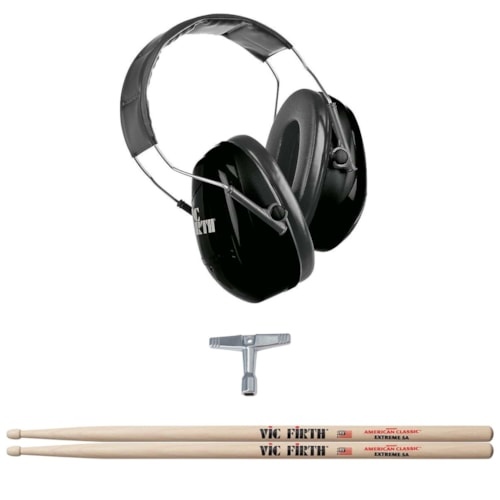 Vic Firth American Classic Extreme 5A Wood Tip Drum Sticks, Isolation Headphones and Gibraltar Standard Drum Key Bundle