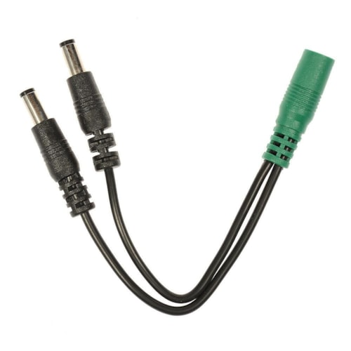 Voodoo Lab Cable Current Doubler Adapter - Two 2.1mm Straight Barrels - 2.1mm Female 4 inch