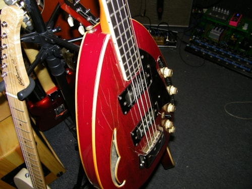Vox 60s teardrop bass with built in Fuzz red, Fair, Hard, $1,999.00