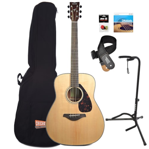 Yamaha FG800 Traditional Dreadnought Acoustic Natural Essentials Bundle